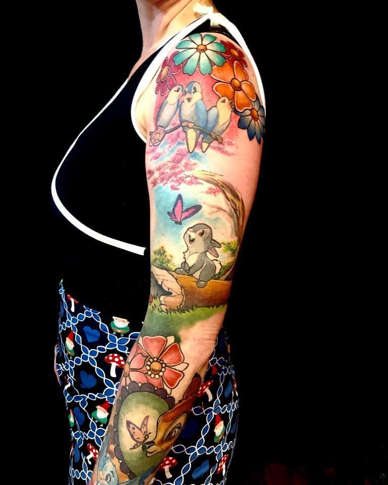 bambi-disney-sleeve-tattoo